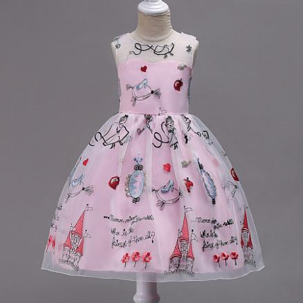 Embroidery Letter Print Bowknot Princess Dress (4041631)
