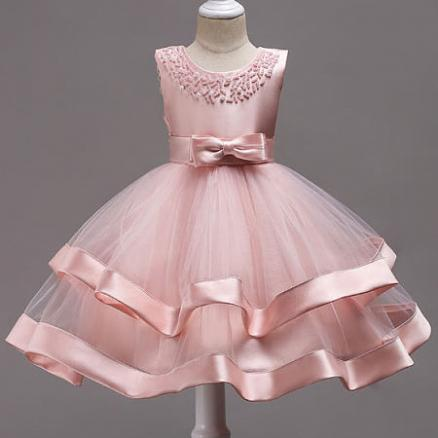 Beads Bowknot Decorated Tulle Patchwork Princess Dress (4094082)