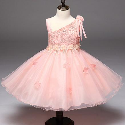 Flower Decorated Bowknot Self Tie One Shoulder Princess Dress (4007207)