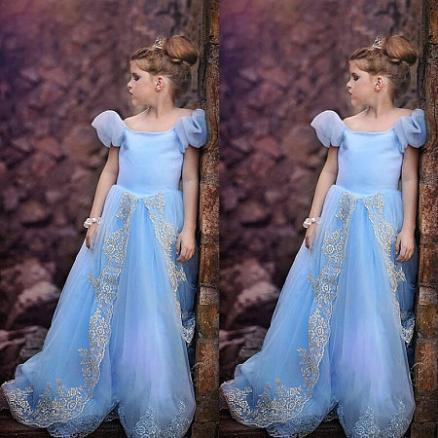 Puffl Sleeve Floral Lace Tulle Floor Length Princess Dress (6238639)