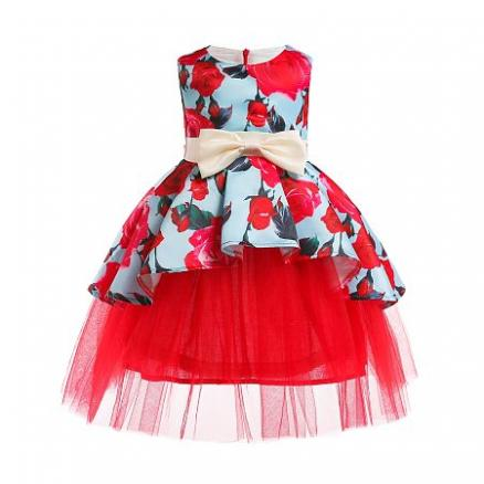 Red Rose Print Tulle Bowknot Decorated Princess Dresss (5133816)