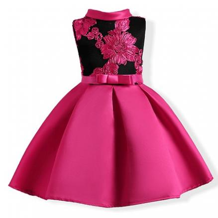 Rose Red Embroidered Flowers Flower Girl Dress (3780493)