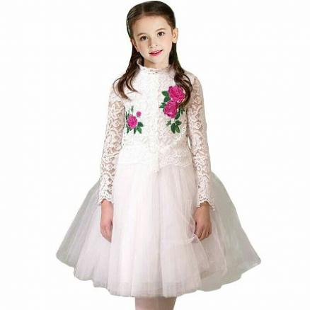 Flower Embroidered Lace Tulle White Princess Dress (5120597)