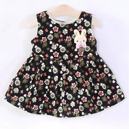 Bunny Corsage Floral Prints Back Bowknot Button Dress (4431091)