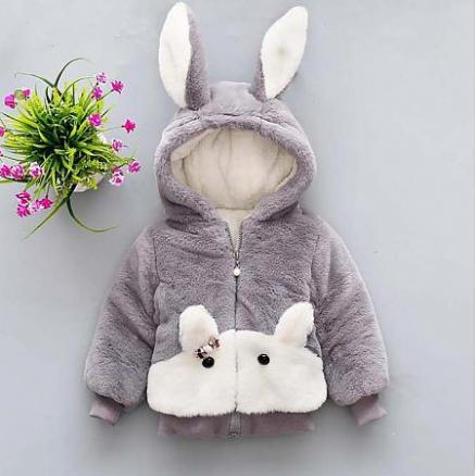 Bunny Ears Hooded Plush Zip Up Outerwear (3884716)