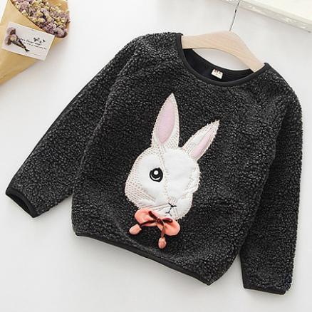 Thickened Bowknot Decorated Bunny Pattern Sweatshirt (4007363)