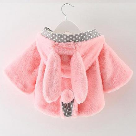 Adorable Bunny Ears Plush Hooded Coat (3734420)
