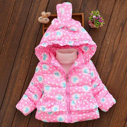 Thickened Heart Prints Polka Dots Bunny Ear Outerwear (4004479)