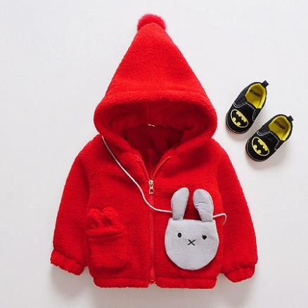 Bunny Pattern Thickened Zipper Outerwear With Bag (3969232)