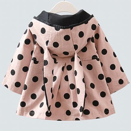 Polka Dots Bunny Ear Button Hooded Trench Coat (3967325)
