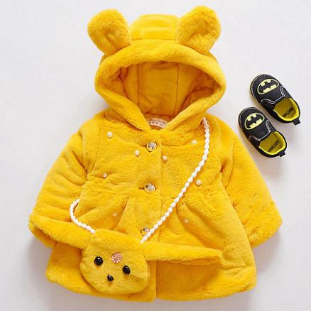 Thickened Plush Bunny Ear Button Hooded Outerwear With Cross-Body Bag (4028324)