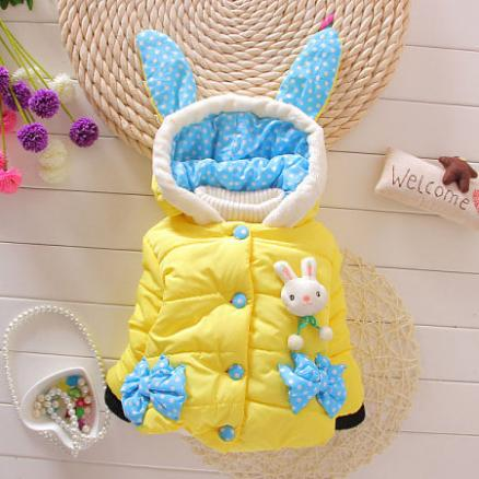 Bunny Ears Hooded Dots Pattern Outerwear (3811788)