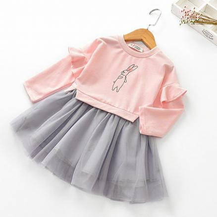 Adorable Bunny Print Tulle Dress (3739776)