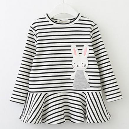 Ruffle Hem Bunny Pattern Striped Dress (3833763)