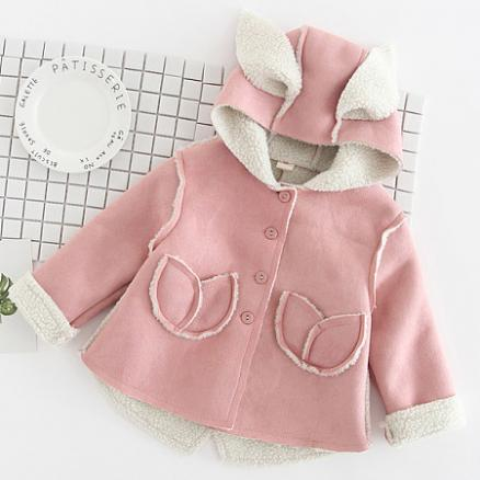 Thickened Bunny Ear Button Hooded Outerwear (4007995)