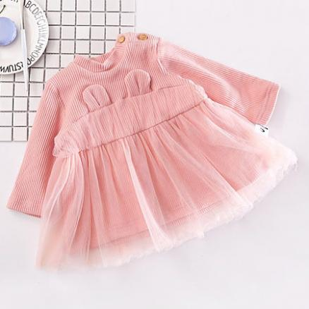 Thickened Solid Color Bunny Ear Tulle Patchwork Dress (4045641)