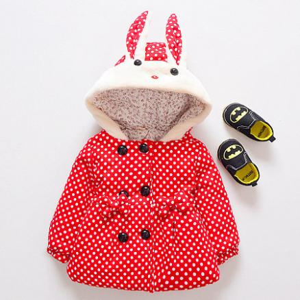 Cute Bunny Polka Dots Hooded Outerwear (4000327)