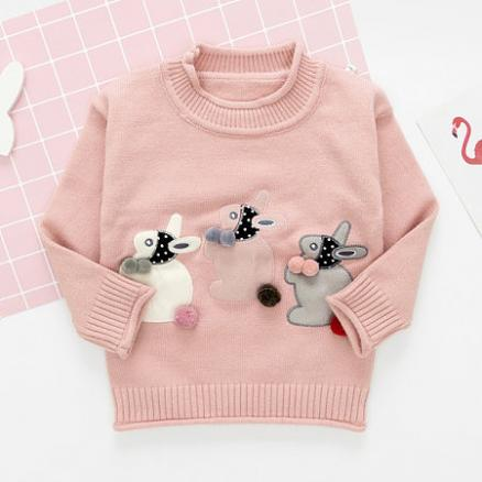 Bunny Applique Long Sleeve Sweater (3852426)