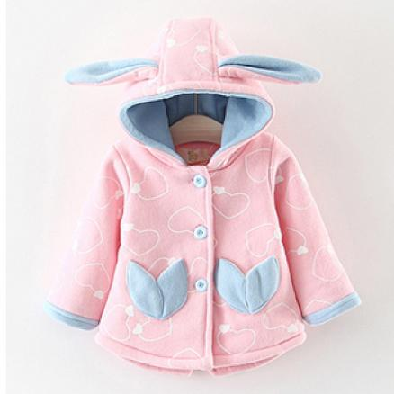 Bunny Ears Loving Heart Prints Hooded Outerwear (3978172)