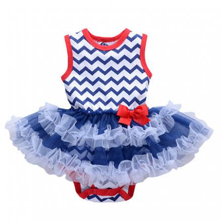 Girls Wave Stripe Bowknot Tutu Style Rompers (3437930)