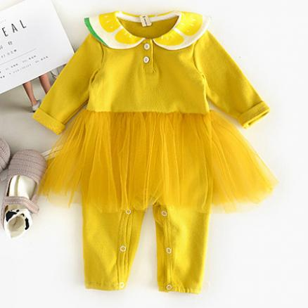 Doll Collar Tulle Baby Romper (3758457)