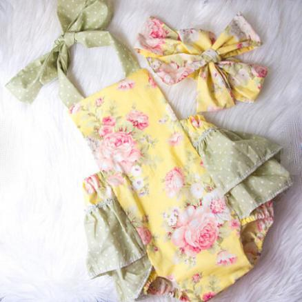 Floral Print Summer Romper With Headband (3435712)