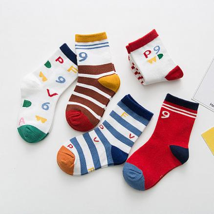 Numbers Pattern Color Block Socks By Five Pairs (4850464)
