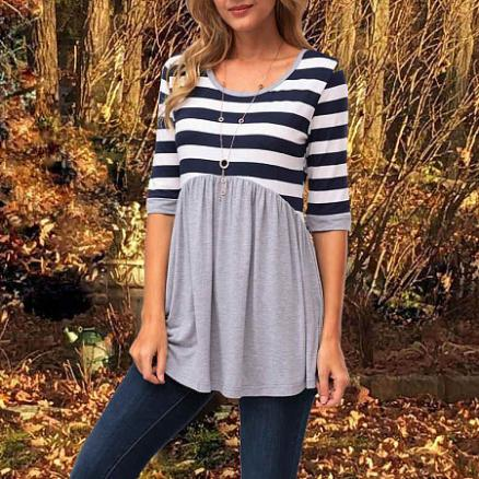 Patchwork Stripes Long Sleeve Tee (4160697)