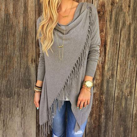 Cowl Neck Tassels Pullover (4037851)