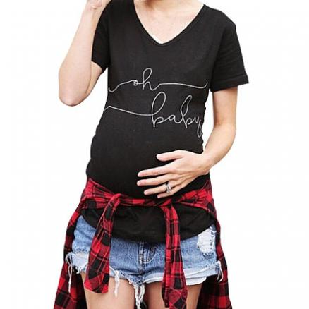 Simple Letter Print Maternity T-Shirt (3851697)
