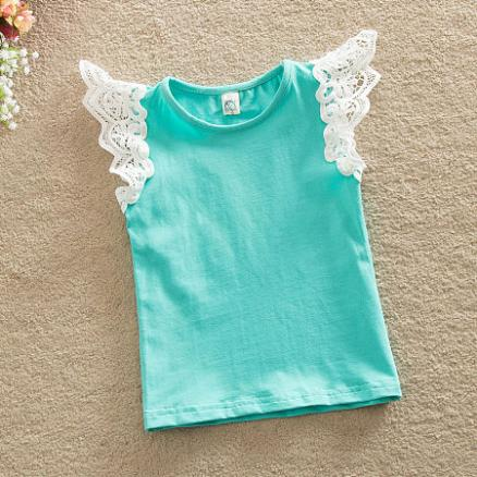 Cute Fly Sleeve Lace Tops (3419681)