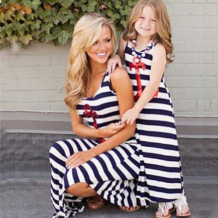 Mom Girl Stripes Sequin Decorated Anchor Pattern Matching Dress (4284793)