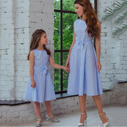 Mom Girl Plaid Bowknot Decorated Matching Dress (4474831)