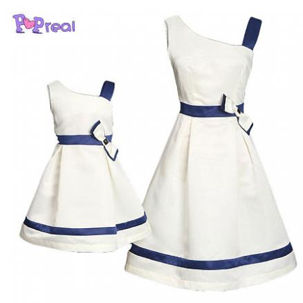Mom Girl Bowknot Decorated One Shoulder Matching Dress (4255251)
