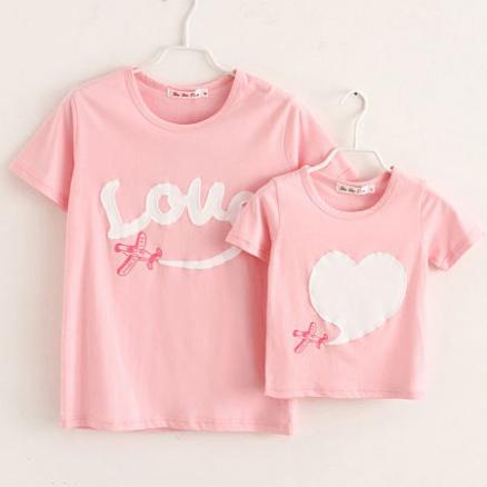 Mom Girl Letters Heart Pattern Matching T-Shirt (4211075)