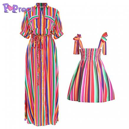 Mom Girl Colorful Stripes Matching Dress (4557438)