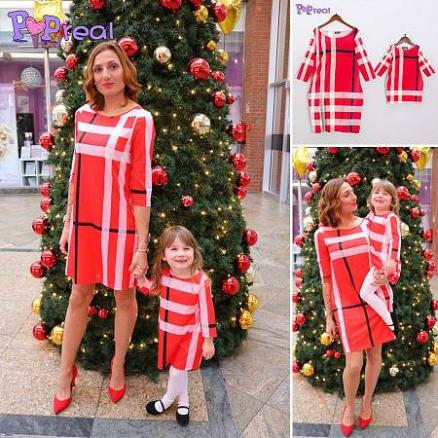 Mom Girl Plaid Color Block Pullover Matching Dress (5157994)