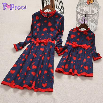Mom Girl Heart Prints Bowknot Decorated Ruffle Collar Dress (4014508)