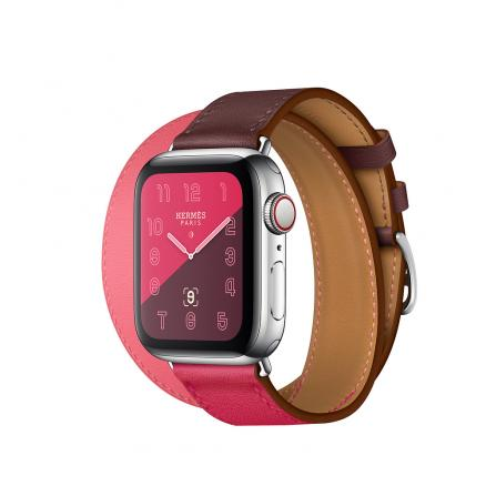 Apple Watch Herm?s Series 4 GPS + Cellular 40mm Stainless Steel Case with Bordeaux/Rose Extr?me/Rose Azal?e Swift Leather Double Tour