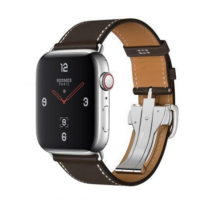 Apple Watch Herm?s Series 4 GPS + Cellular 44mm Stainless Steel Case with ?b?ne Barenia Leather Single Tour Deployment Buckle