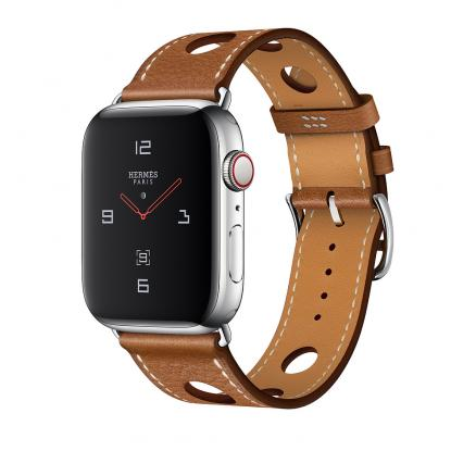 Apple Watch Herm?s Series 4 GPS + Cellular 44mm Stainless Steel Case with Fauve Grained Barenia Leather Single Tour Rallye
