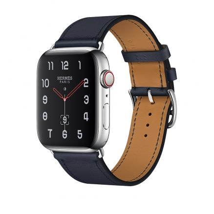 Apple Watch Herm?s Series 4 GPS + Cellular 44mm Stainless Steel Case with Bleu Indigo Swift Leather Single Tour