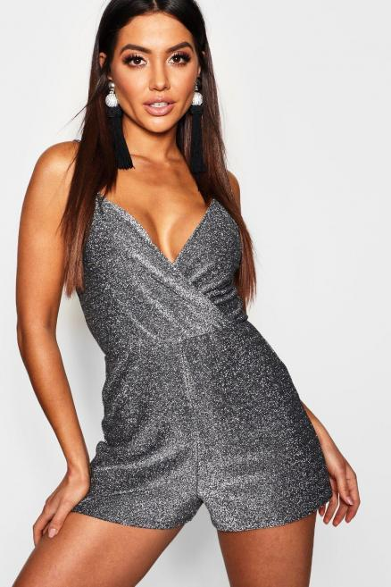 Metallic Strappy Wrap Playsuit