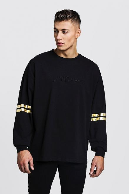 Gold MAN Oversized Long Sleeve T-Shirt With Foil