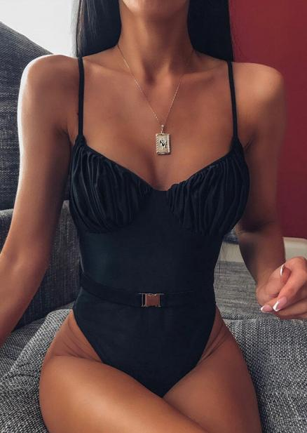 Ruffled Spaghetti Strap One-Piece Swimsuit without Necklace - Black (461834)
