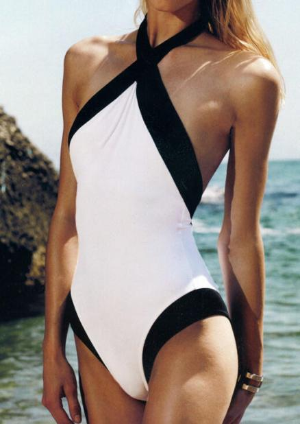 Color Block Backless Sexy One-Piece Swimsuit (77115)