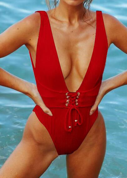 Solid Lace Up One-Piece Swimsuit - Red (444855)