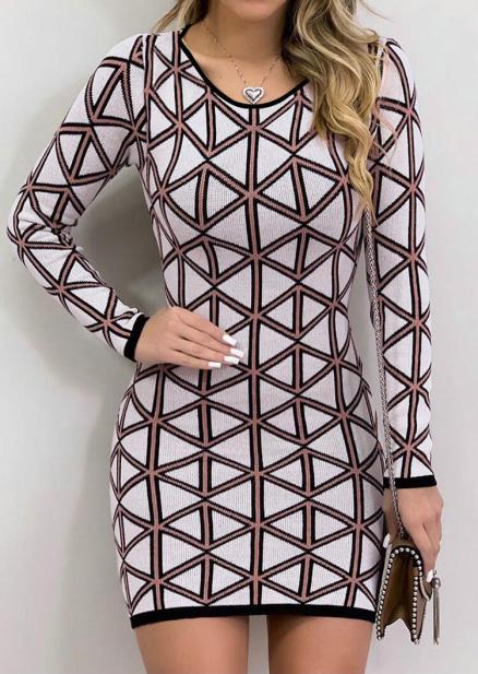 Geometric Printed Bodycon Dress without Necklace - Multicolor (457582)