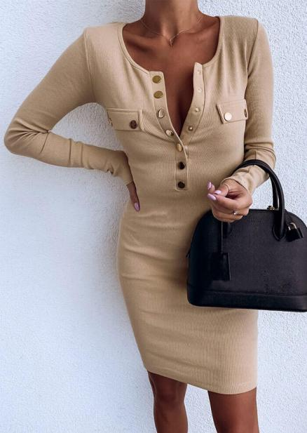 Solid Button Bodycon Dress without Necklace - Khaki (457530)