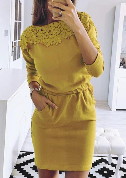 Solid Lace Splicing Pocket Drawstring Bodycon Dress - Yellow (456912)